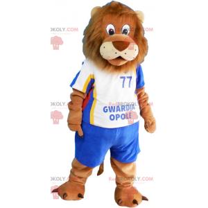 Maskot lva s modrým fotbalovým oblečením - Redbrokoly.com