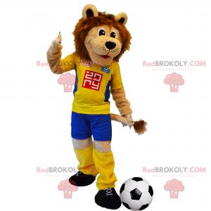 Löwenmaskottchen mit gelbem Fußballoutfit - Redbrokoly.com