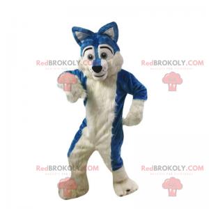 Modrý a bílý vlk maskot - Redbrokoly.com