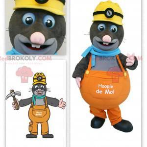 Gray mole mascot foreman - Redbrokoly.com
