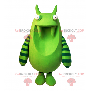 Green monster mascot with stripes on his arms - Redbrokoly.com