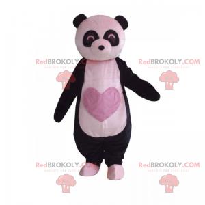 Panda maskot s růžovým srdcem na břiše - Redbrokoly.com