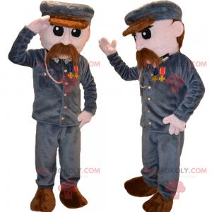 Karaktermaskot - Soldat med overskæg - Redbrokoly.com