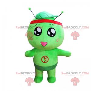 Maskotka mały zielony i okrągły mężczyzna - Redbrokoly.com