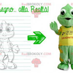 Groen en geel kameleonmascotte - Redbrokoly.com
