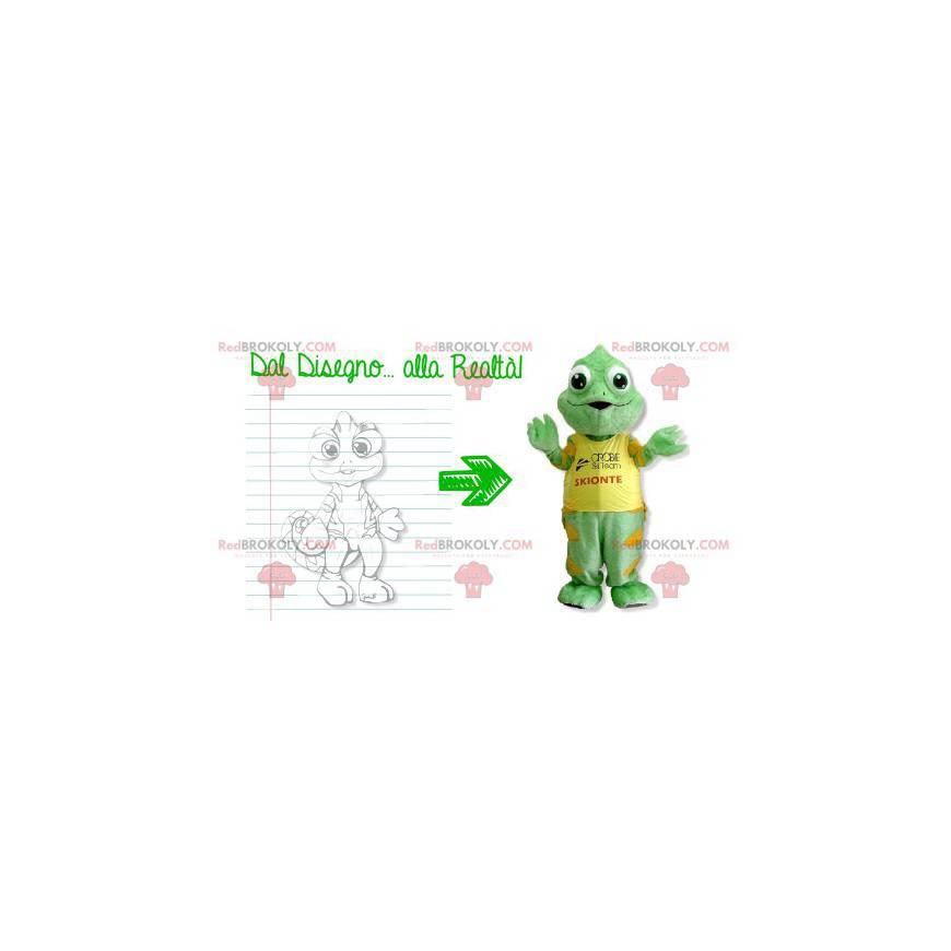 Grønn og gul kameleontmaskot - Redbrokoly.com