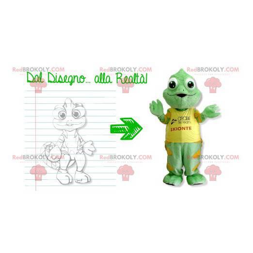 Zelený a žlutý chameleon maskot - Redbrokoly.com