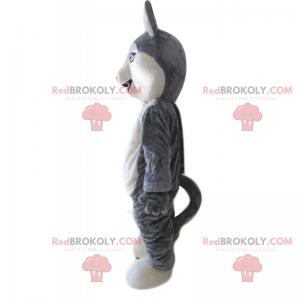 Kleines graues und weißes Wolfsmaskottchen - Redbrokoly.com