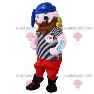 Mascote pirata com seu papagaio e bandana azul - Redbrokoly.com