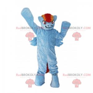 Maskot modrý poník s dvoutónovou hřívou - Redbrokoly.com