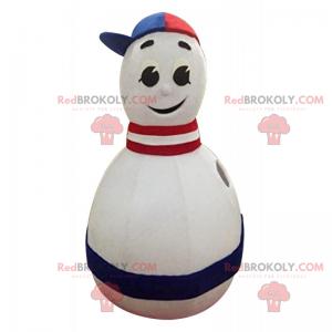 Blaues, weißes, rotes dreifarbiges Bowling-Maskottchen -