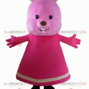 Rosa Teddybärmaskottchen mit einem Kleid - Redbrokoly.com
