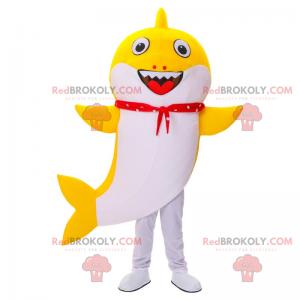 Maskot žlutý žralok s úsměvem - Redbrokoly.com