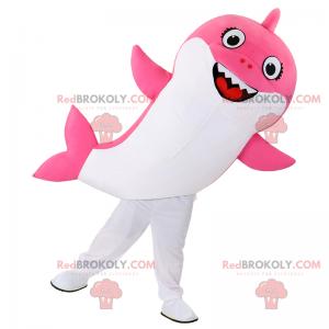 Růžový žralok maskot s úsměvem - Redbrokoly.com