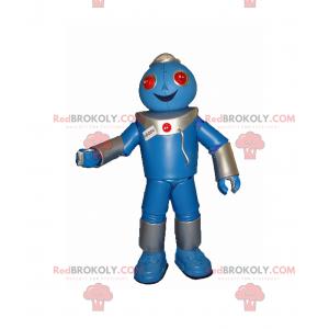 Blauwe robotmascotte en rode ogen - Redbrokoly.com