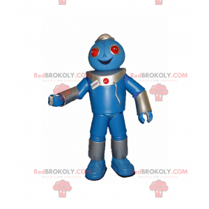 Blue robot mascot and red eyes - Redbrokoly.com