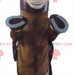 Hnědý hříbě maskot koně s pláštěm - Redbrokoly.com