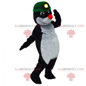 Mole mascot with green miner's helmet - Redbrokoly.com