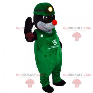 Krtek maskot se zeleným overalem - Redbrokoly.com
