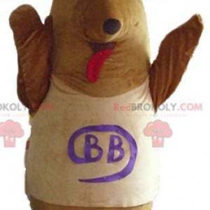 Brown and beige dog mascot with a bow on the head -