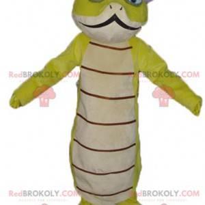 Hermosa y original mascota serpiente verde y blanca. -