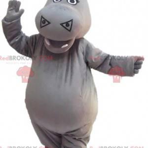 Mascote de hipopótamo cinza fofo e impressionante -