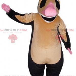 Mascotte de tapir marron rose et noir très souriant -