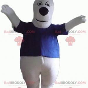 Maskot bílého psa s baculatým a roztomilým modrým tričkem -