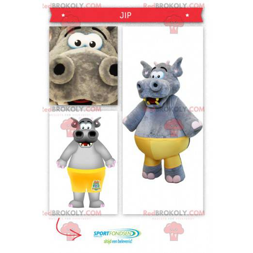 Maskotka duży szary hipopotam z żółtą koszulką - Redbrokoly.com