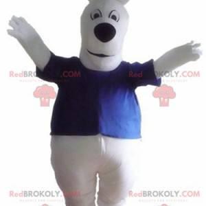 Stor hvit hundemaskot med blå t-skjorte - Redbrokoly.com