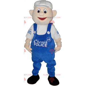 Maskottchenmann mit blauem Overall und weißer Mütze -