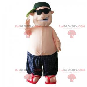 Maskotka mężczyzna w kąpielówkach i czapce - Redbrokoly.com