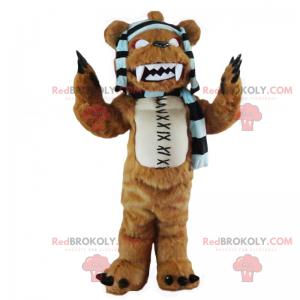 Maskot medvěda s pruhovým šátkem - strašidelný - Redbrokoly.com