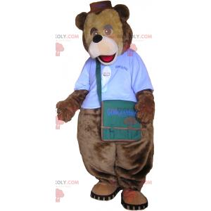 Bear maskot med antrekk og skulderveske - Redbrokoly.com