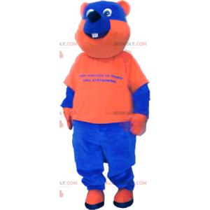Zweifarbiges Bärenmaskottchen in Blau und Orange -