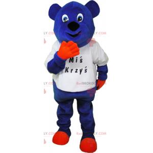 Modrý medvěd maskot v tričku - Redbrokoly.com