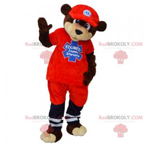 Bear mascot in ambulance outfit - Redbrokoly.com