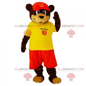 Braun-Beige-Bären-Maskottchen-Outfit mit Anhänger und Mütze -