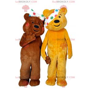 Teddy bear mascot duo with polka dot headband in the right eye