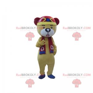 Medvěd maskot s červeným a modrým šátkem - Redbrokoly.com