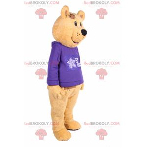 Niedźwiedź maskotka z fioletowym swetrem - Redbrokoly.com
