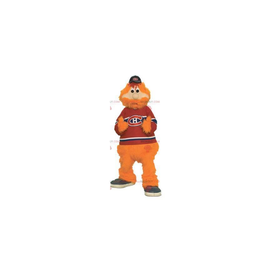Bärtiges und haariges Maskottchen des orangefarbenen Mannes -
