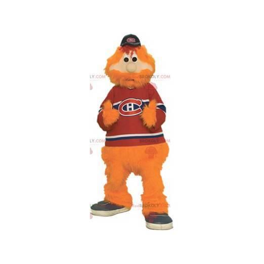 Brodaty i włochaty pomarańczowy mężczyzna maskotka -