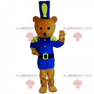 Teddy bear mascot in blue soldier outfit - Redbrokoly.com