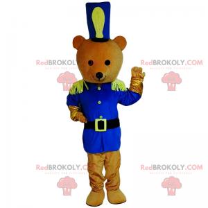 Teddybär-Maskottchen im blauen Soldatenoutfit - Redbrokoly.com