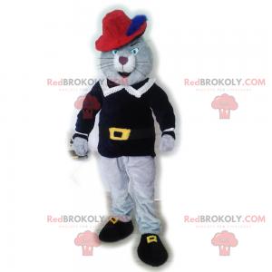 Gray boot cat mascot - Redbrokoly.com