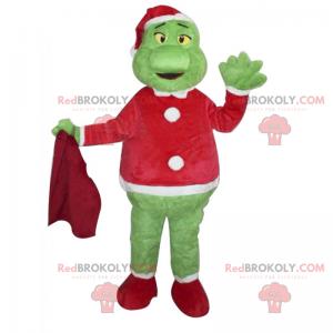 Grinch maskot ve vánočním oblečení - Redbrokoly.com