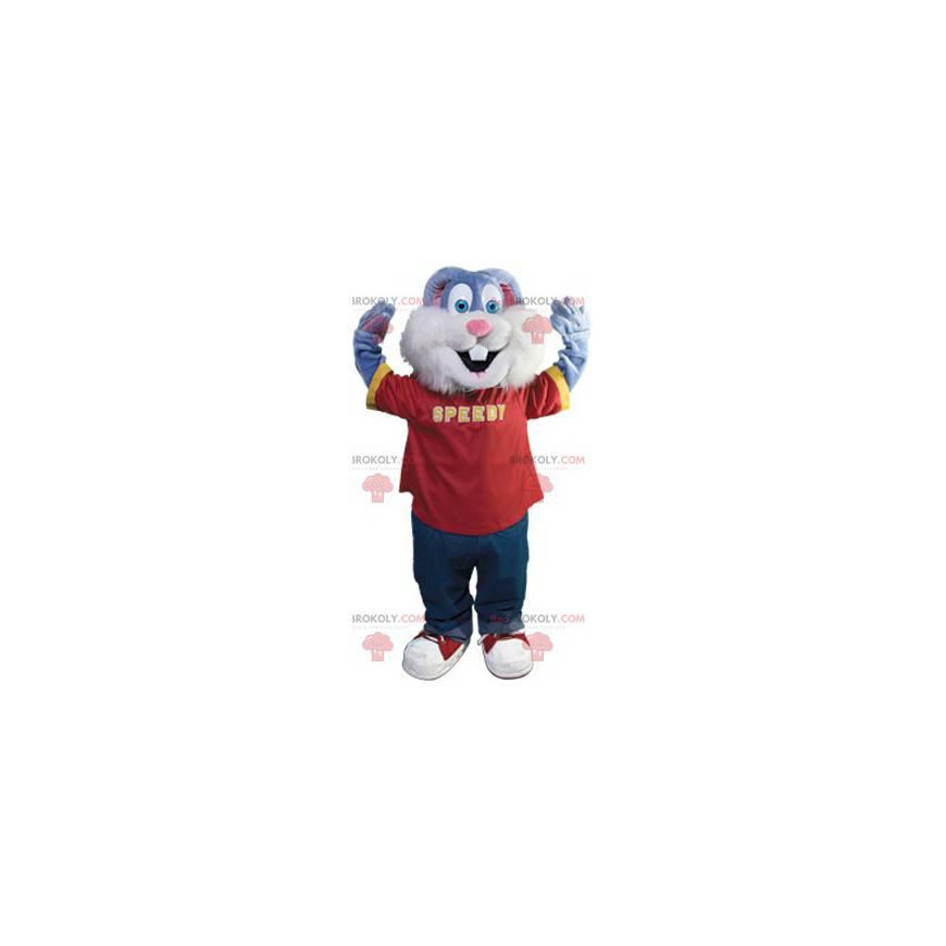 Roztomilý modrý králík maskot - Redbrokoly.com