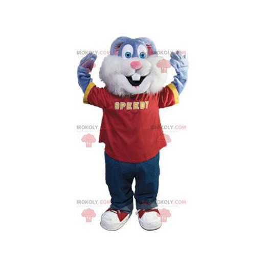 Ładny niebieski królik maskotka - Redbrokoly.com