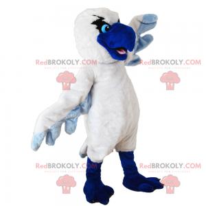 Hvit fuglemaskot med blå nebb - Redbrokoly.com